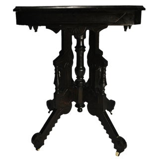 Exceptional Antique Eastlake Victorian Heavily Carved Walnut Parlor Side Table