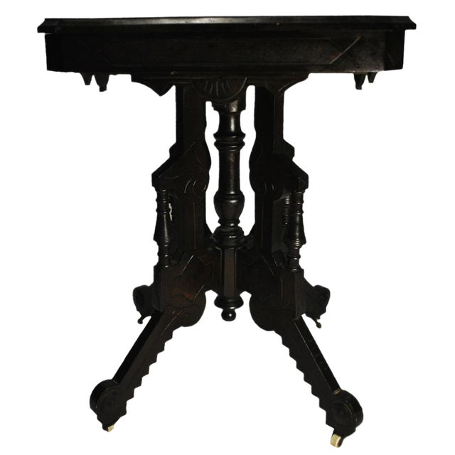 Exceptional Antique Eastlake Victorian Heavily Carved Walnut Parlor Side Table - Image 1 of 9