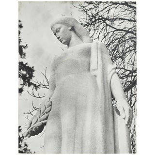 Large Black and White Photograph of Female Sculpture For Sale