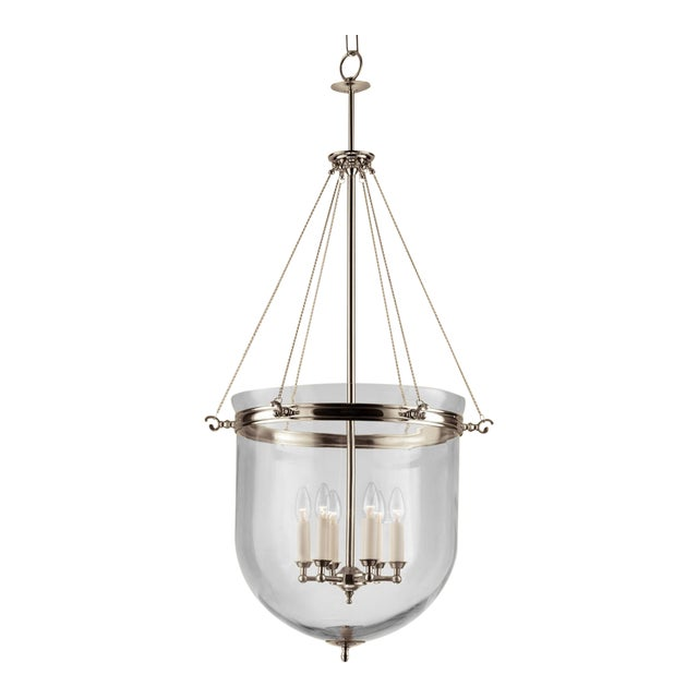Mid-Century Modern 6 Candle Polished Nickel Lantern With Glass For Sale - Image 3 of 4