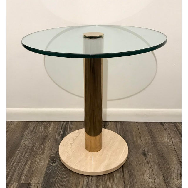 Pace Collection Pace Collection Italian Marble, Brass and Glass Side Table For Sale - Image 4 of 5