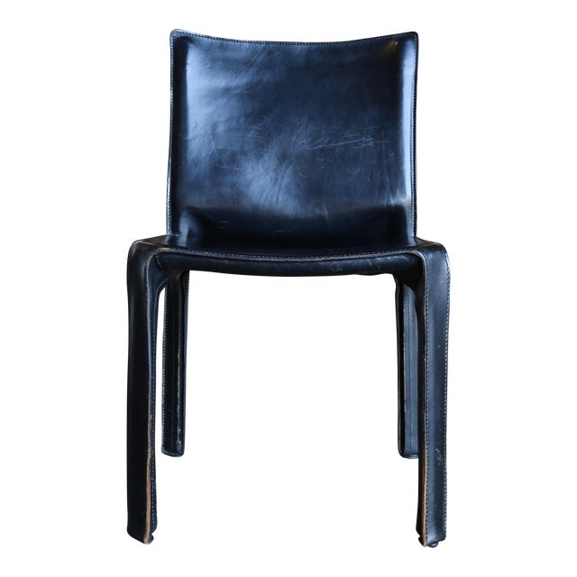 """Black Leather """"Cab"""" Chair by Mario Bellini for Cassina For Sale"""