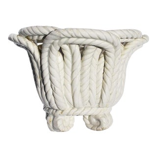 Round White Ceramic Candle Holder in Basketweave Rope Pattern, Spain For Sale