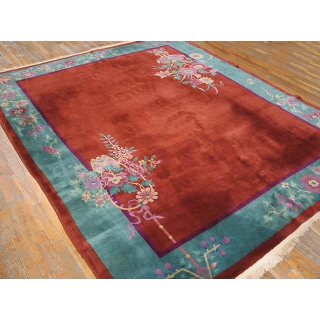"""1920s Antiique Chinese Art Deco Rug 8'0"""" X 9'8"""" For Sale - Image 5 of 6"""