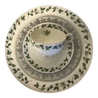 1900s Mid-Century Modern Green Patterned China Table Setting - 4 Pieces