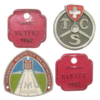 European Auto & Bicycle Shield Collection, S/4 For Sale
