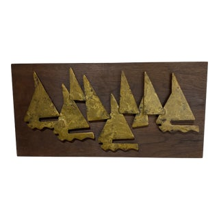 Brutalist Metal Sailboat Wall Sculpture For Sale