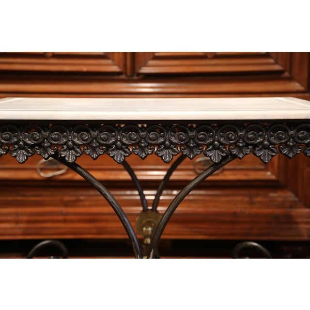 Polished French Iron Butcher or Pastry Table With Marble Top and Brass Mounts - Image 4 of 11