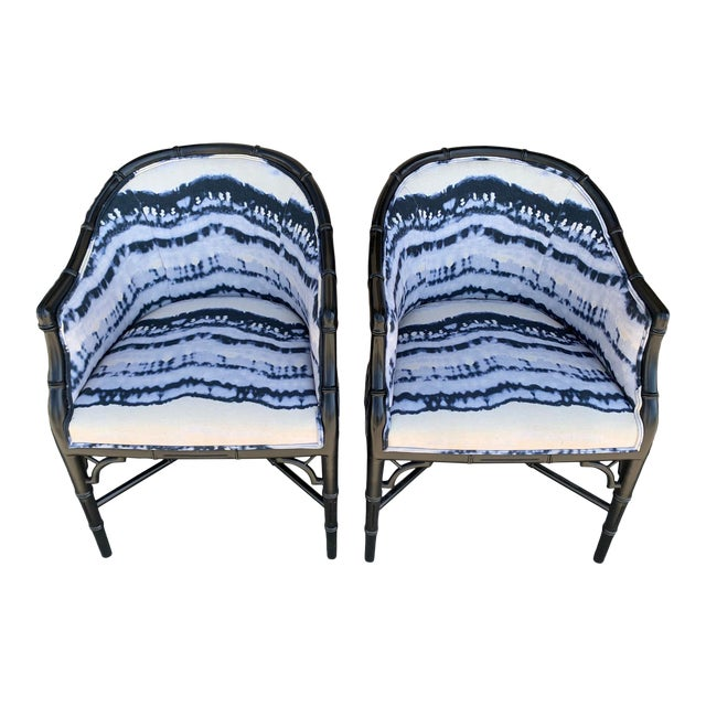 Mid-Century Faux Bamboo Side Chairs - a Pair For Sale
