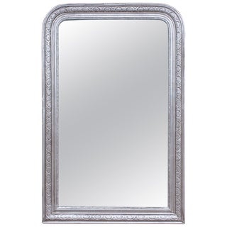 Antique French Carved and Silver Gilt Louis Philippe Mirror For Sale