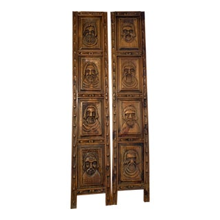 French Antique Wooden Carved Monks Panels - Pair For Sale