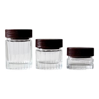 Vintage Glass Jars With Leather Lids - Set of 3 For Sale