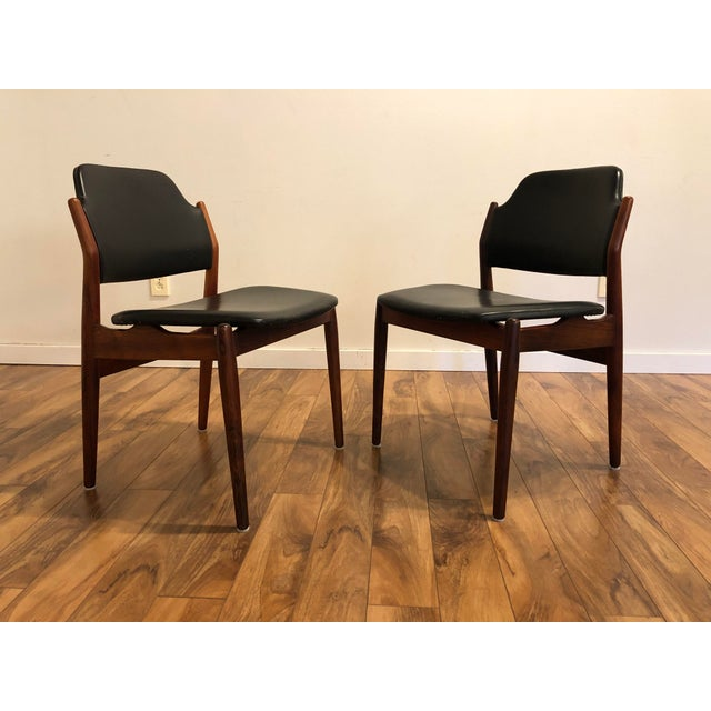 Mid-Century Modern Arne Vodder for Sibast Rosewood and Leather Side Chairs, Made in Denmark, a Pair For Sale - Image 3 of 9