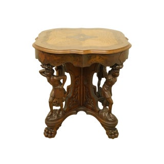 "1920's French Renaissance Louis XVI Ornate 30"" Carved Accent Table With Cherub Base For Sale"