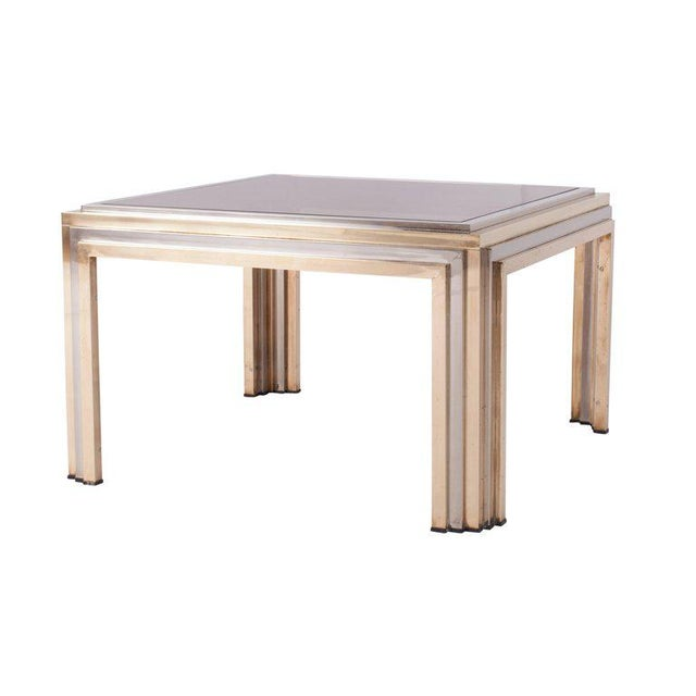 Brass and chrome coffee table by Romeo Rega. In the Hollywood Regency style of Maison Charles / Jansen. Italian glam from...