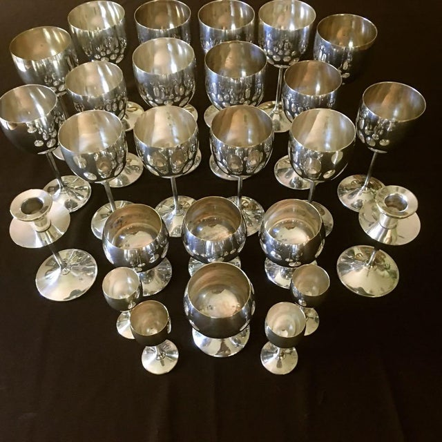 Vintage Spain Silver Plated Drinkware Set 26 Pieces Made in Spain 1940's Electroplated Silver over Brass. 8 Wine Goblets...