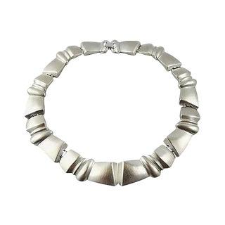 1980s Monet Silvertone Modernist Necklace For Sale