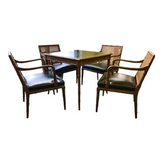 1950s Vintage Came Table and Chairs by Hickory Furniture Company For Sale