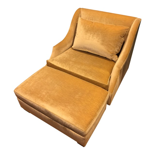 Custom Vintage Armchair With Ottoman - Image 1 of 7