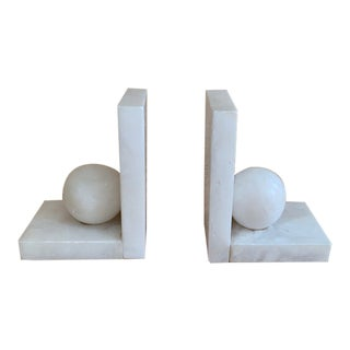 1920's Art Deco Alabaster Ball Bookends - a Pair For Sale