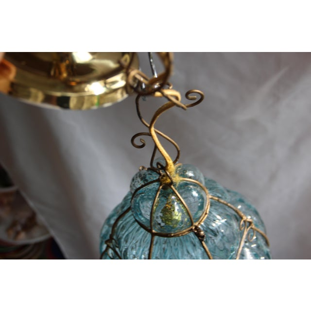 1940s Large 1940's Seguso Murano Blue Bubble Glass Pendant Chandelier For Sale - Image 5 of 7