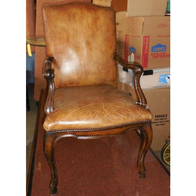 Michael Taylor Brown Leather Arm Chair - Image 3 of 3