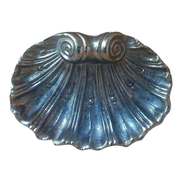 Vintage Solid Brass Footed Clam Shell Soap Dish - Image 1 of 5