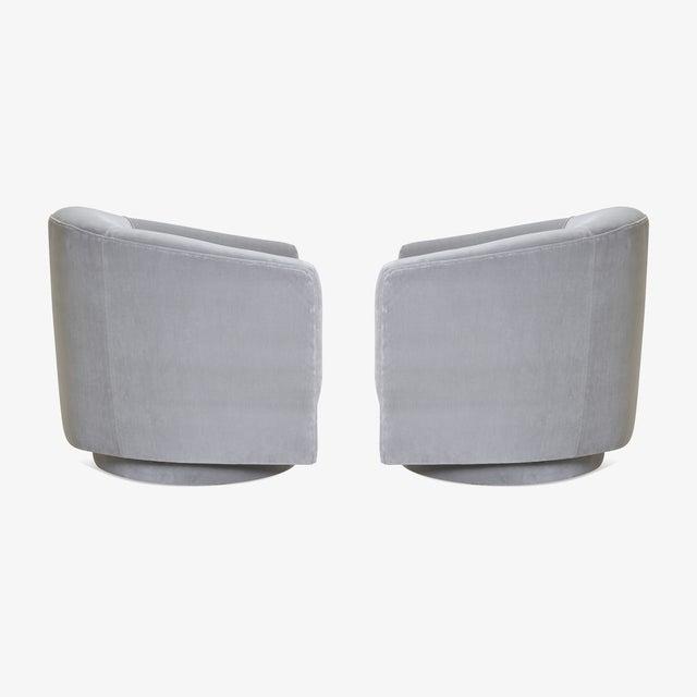 Swivel Tub Chairs in Dove Velvet, Pair For Sale - Image 4 of 8