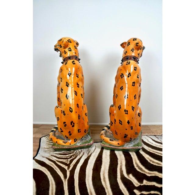 Brown Mid-Century Italian Ceramic Cheetah Statues - Pair For Sale - Image 8 of 8