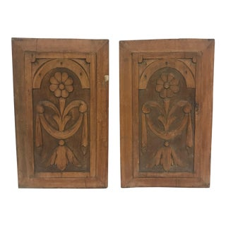 Wood Floral Panels - A Pair For Sale