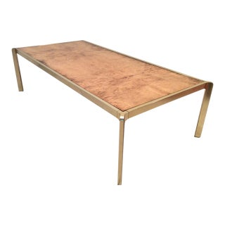 Burl Wood & Brass Italian Coffee Table
