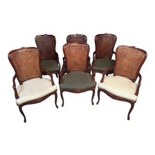 Late 20th Century Caned Dining Arm Chairs- Set of 6 For Sale