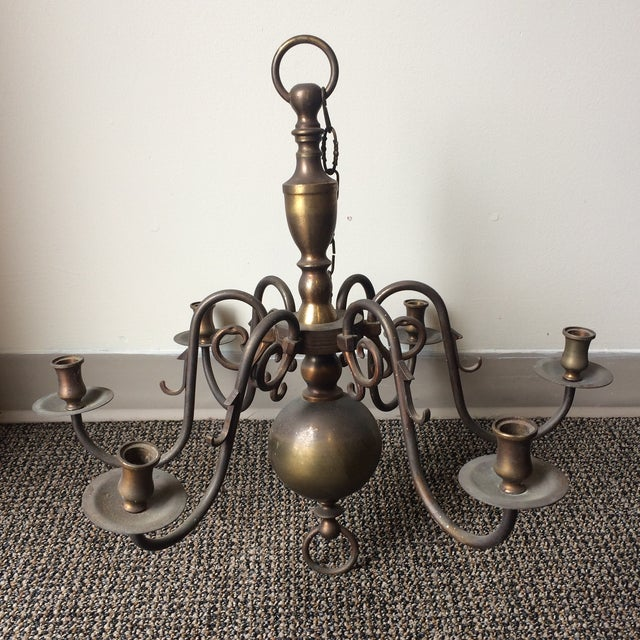 Antique Brass Candle Holder Chandelier For Sale - Image 5 of 7