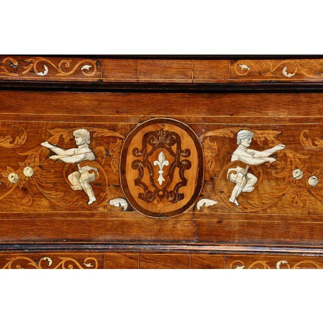 Mid 18th Century 18th Century Neoclassical Italian Walnut Marquetry and Bone Inlaid Bed For Sale - Image 5 of 6
