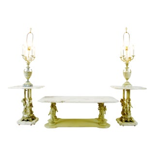 Hollywood Regency Italian Marble Candelabra End Tables & Coffee Table For Sale