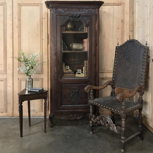19th Century Spanish Embossed Leather Armchair features amazingly detailed embossing in the leather, gracefully scrolled...