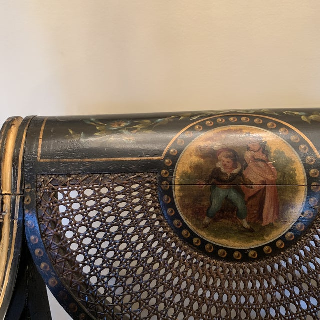 Mid 19th Century Ebonized English Regency Settee With Cane on Casters For Sale - Image 11 of 13