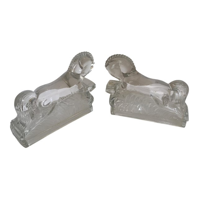 Pair of Vintage Molded Glass Horse Bookends For Sale