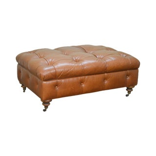Ralph Lauren Brown Tufted Leather Storage Ottoman