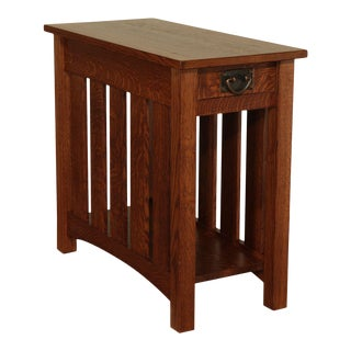Woodruff Mission Oak Arts & Crafts One Drawer Slat Side Nightstand For Sale