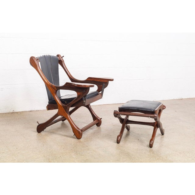 Senal Mid Century Mexican Modern Don Shoemaker Swinger Chair With Ottoman For Sale - Image 4 of 13
