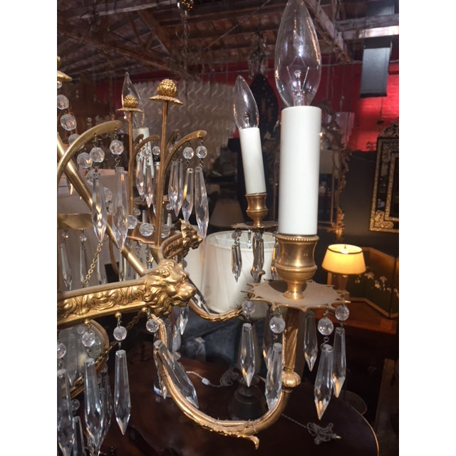 1950s Vintage Neo-Classic Brass Dore Chandalier For Sale - Image 12 of 13