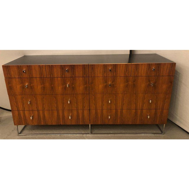 Hollywood Regency Style Rougier Rosewood and Black Lacquer Credenza Chest Server For Sale - Image 4 of 10