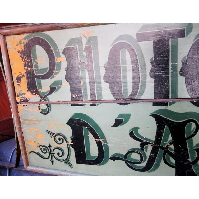 "1920s Classic French Art Deco Sage Green Painted 2-Sided ""Photos D'Art"" Shop Sign For Sale - Image 9 of 13"