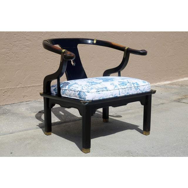 Metal Vintage James Mont Black Lacquer Ming Chair For Sale - Image 7 of 13