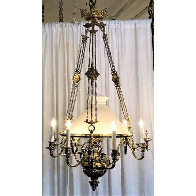 Antique French Brass Suspension Lantern, Circa 1870-1890.