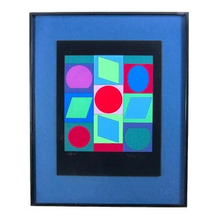 Vintage Mid-Century Vasarely Pencil Signed Serigraph Print For Sale