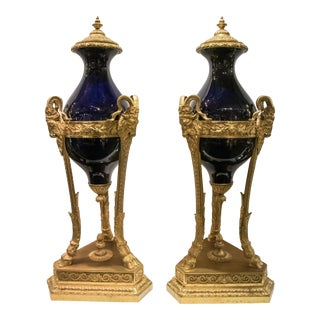 Large Louis XVI Style Cobalt Blue Sevres Bronze Mounted Urns - A Pair For Sale