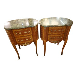 French Wooden Commodes With Green Marble Top - a Pair For Sale