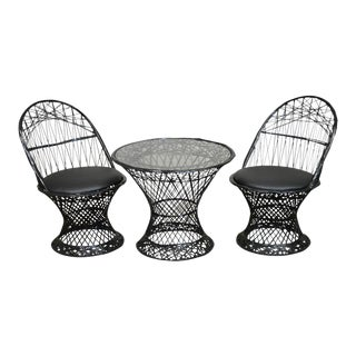 Russell Woodard Spun Fiberglass Youth Size Pair of Chairs & Table Patio Set For Sale